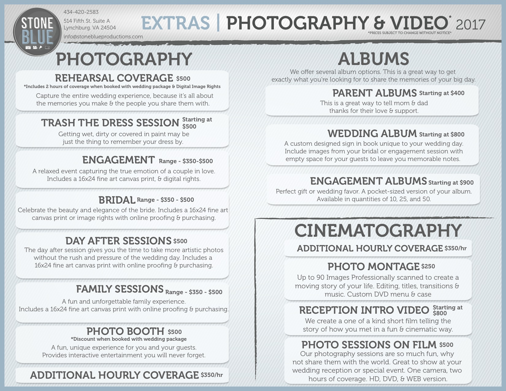 Photo Video Extras 2017 Photography Packages